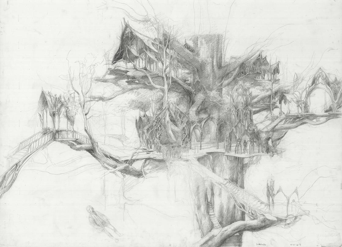 An Elven palace in Lothlórien Forest, set design by Alan Lee for <i>The Lord of the Rings</i> by Peter Jackson