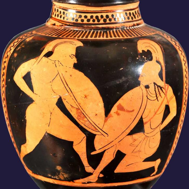 Achilles fighting Hector, <i>Oinochoe (Athenian, red-figure)</i>, 530-500 av JC