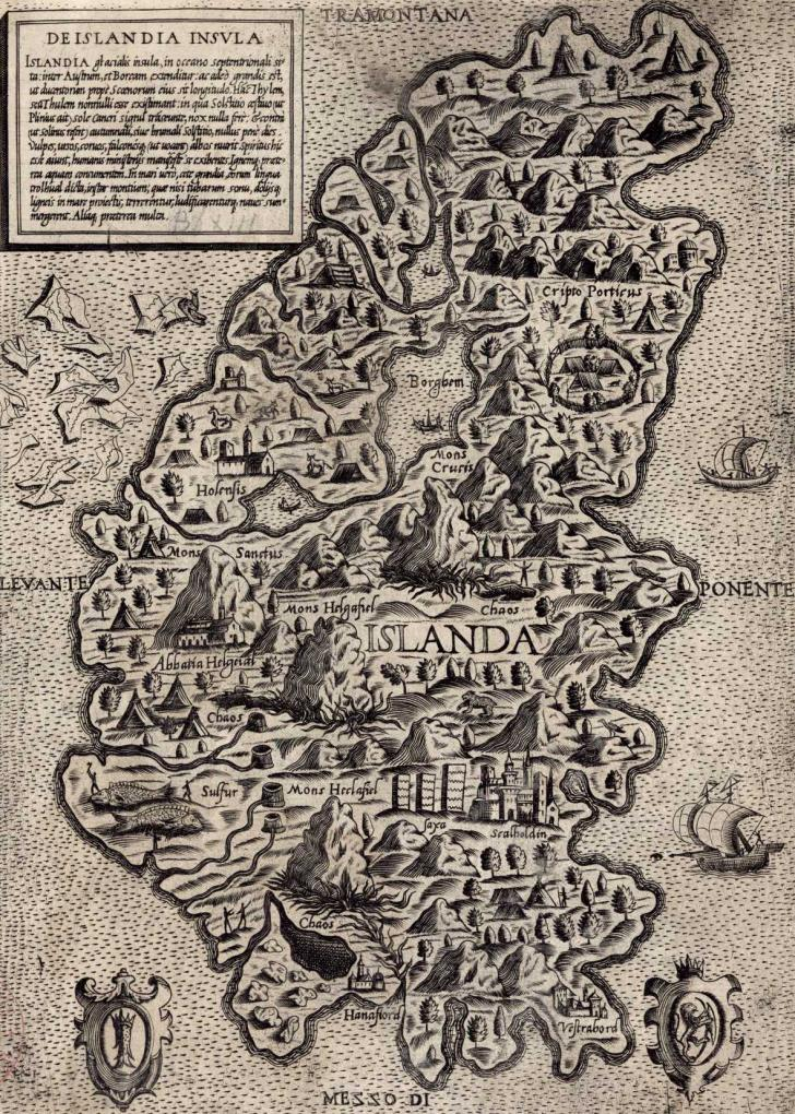 Map of Iceland, <i>De Islandia insula</i> (16th century)