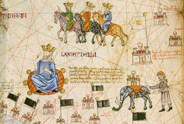 The Great Sultan, the Magi and an Indian Elephant, <i>Catalan Atlas</i>, Abraham Cresques (1375)