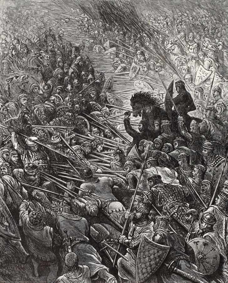 """""""Les cris poussés par notre armée et par l'autre portent jusqu'au ciel la terreur"""", <i>Roland furieux : poème héroïque</i>, écrit par L'Arioste et illustré par Gustave Doré (1879)"""