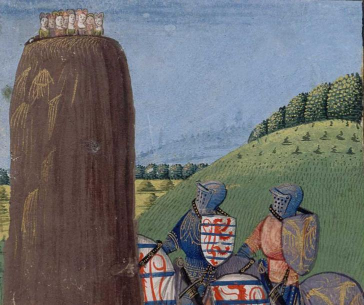 Morholt and Gawain at the Rock of Maidens, <i>Lancelot du Lac</i>, copy by Michel Gonnot (vers 1470)