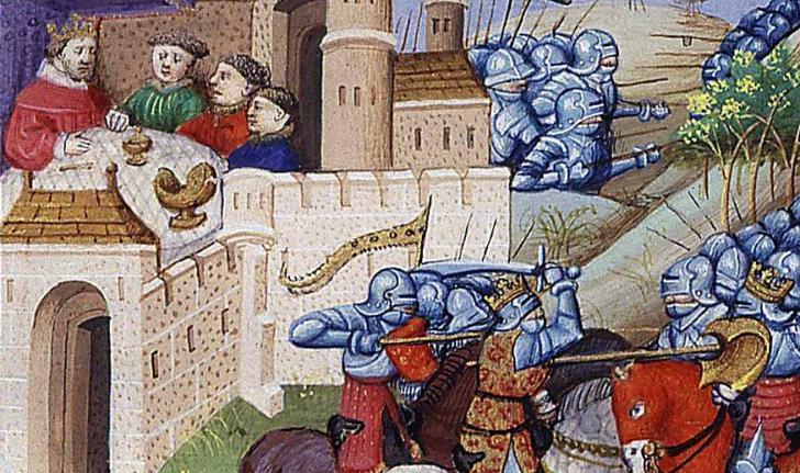 Arthur et ses chevaliers, combat d'Arthur et de Mordred, <i>Des cas des nobles hommes et femmes</i>, écrit par Boccace et enluminé par Maître de Dunois (1440?)