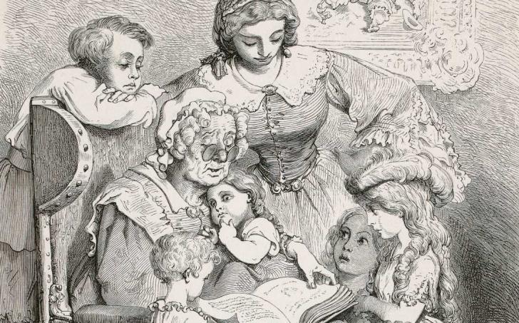 La lecture des contes en famille, <i>Les contes de Perrault</i>, illustrés par Gustave Doré (1862)