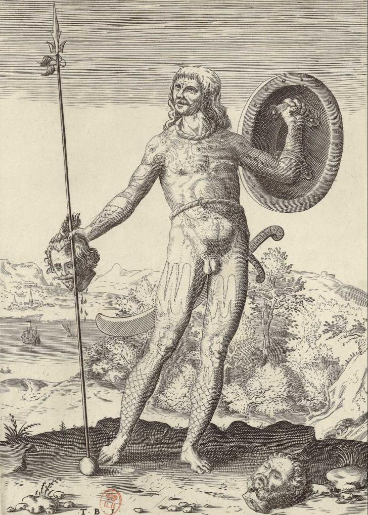Amérindien de Virginie, <i>Admiranda narratio, fida tamen, de commodis et incolarum ritibus Virginiae...</i>, </br>de Thomas Harriot, Theodor de Bry, Johann Theodor de Bry et Johann Israël de Bry (1590)