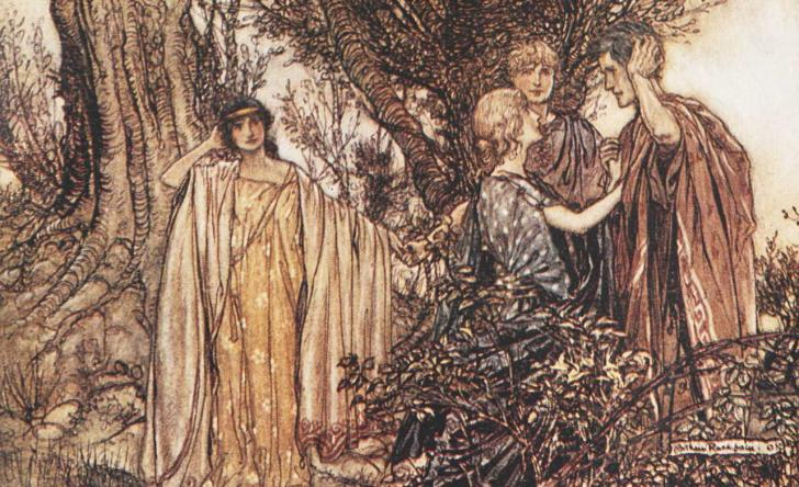 Hermia, Lysander, Helen and Demetrius, <i>Midsummer Night's Dream</i> by William Shakespeare, illustrated by Arthur Rackham (1909)