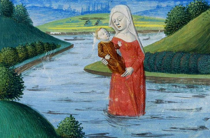 Lancelot kidnapped by Viviane, the Lady of the Lake, <i>Lancelot-Graal : Lancelot du Lac</i>, copied by Gilles Gracien, illuminated by l'Atelier d'Evrard d'Espinques (14th century)