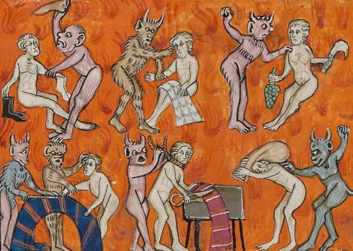 Souffrance des damnés en enfer, <i>Apocalypse de Saint Jean</i>, enluminé par Colins Chadewe (1313)