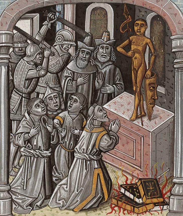 Profanation du Temple par les soldats du roi Antiochos, <i>Bible moralisée</i>, enluminée par le Maître de la Chronique de Pise (XV<sup>e</sup> siècle)