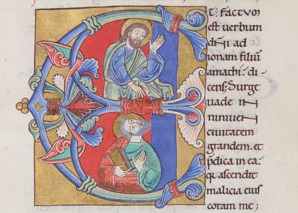 Jonas écoutant dieu, <i>Biblia Latina</i> (1146-1155)