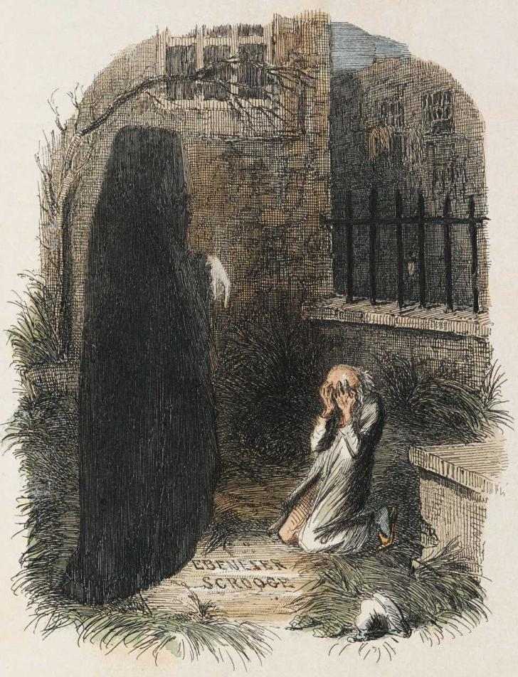 <i>Scrooge visited by Marley's ghost</i>, <i>A Christmas Carol</i>, by Charles Dickens, illustrated by John Leech (1843)
