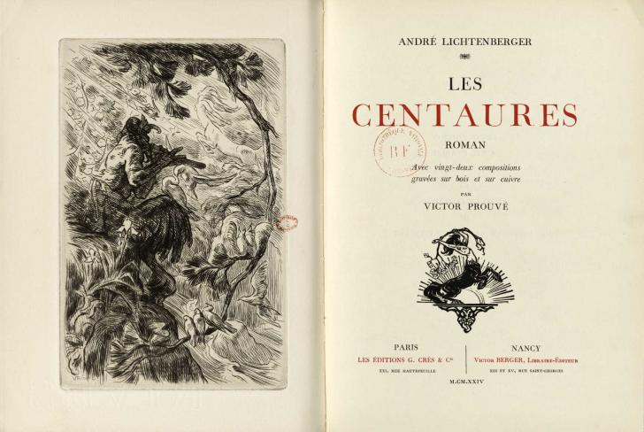 <i>Les Centaures (The Centaurs)</i>, by André Lichtenberger, engraving by Victor Prouvé (1924)