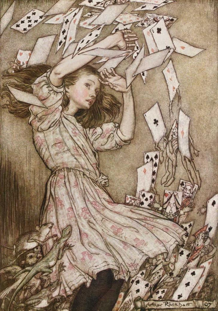 <i>Aventures d'Alice au pays des merveilles</i>, de Lewis Carroll, illustré par Arthur Rackham (1908)