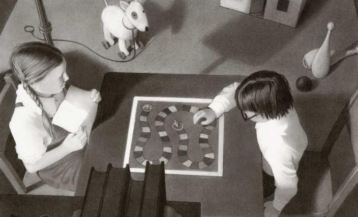Dispositif de l'échiquier : <i>Jumanji</i>, écrit et illustré par Chris Van Allsburg (1981)