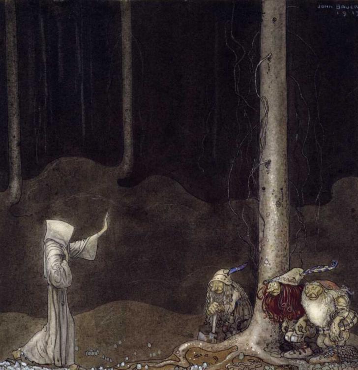 <i>Brother St. Martin and the Three Trolls</i>, peinture de John Bauer (1913)