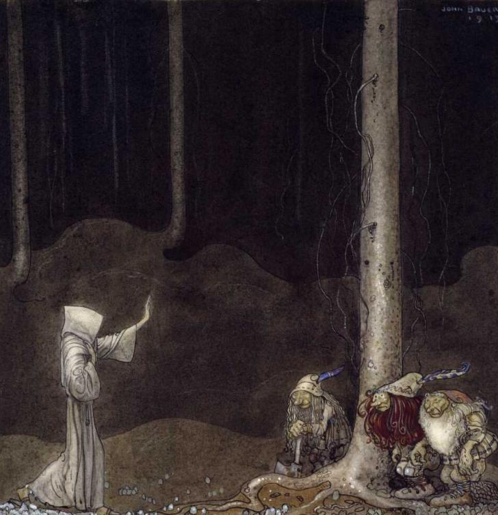 Brother St. Martin and the Three Trolls, John Bauer (1913)