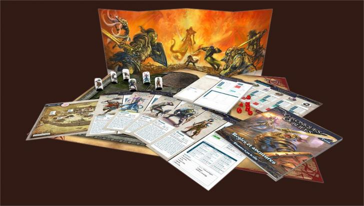<i>Chroniques oubliées Fantasy</i>, rules and adventures, game screen, character sheets, dice, counters and game board (2017)
