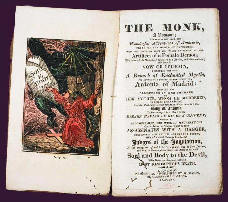 <i>The Monk, a romance</i>, by Matthew G. Lewis, frontispiece illustration and title page summary (1818)