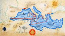 Carte des navigations d'Ulysse, <i>L'Odyssée</i>, écrit par Homère et illustré par F.L. Schmied (1930-1933)