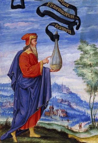 Alchimiste philosophe portant un flacon (1577)