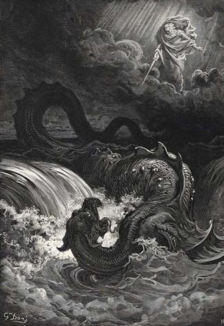 Dieu fait périr Leviathan, La Sainte Bible, par Gustave Doré (1866)