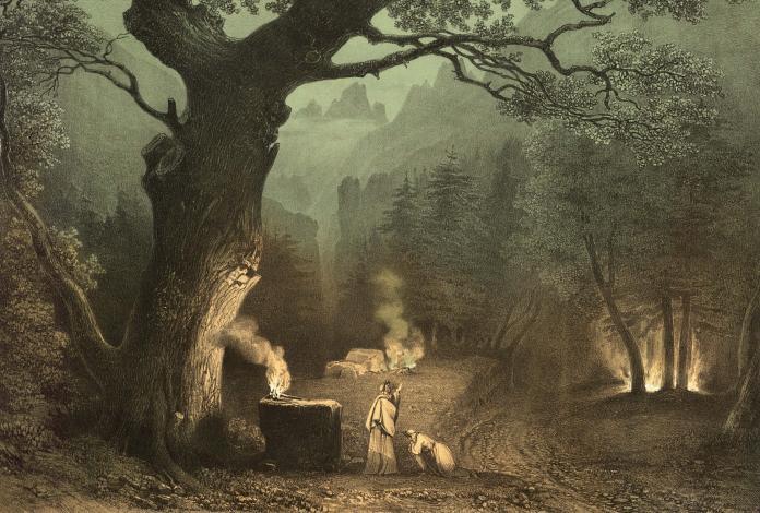 Forêt des druides dans l'Opéra de Norma, Villeneuve (1835)