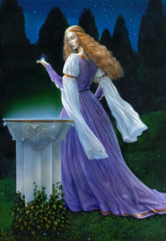Galadriel, <em>The 1991 Tolkien Calendar</em>, illustration de John Howe (1989)
